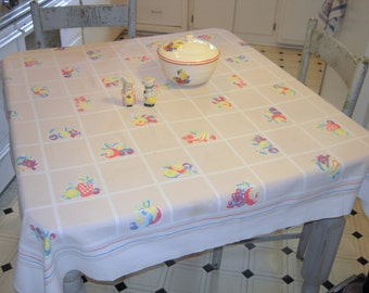 Vintage Tablecloth Sweet Fruit Squares