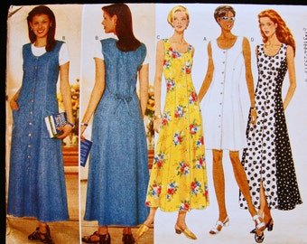 Butterick Dress Pattern Misses size 12 14 16 Womens Fitted A Line Flared Button Front Dress, Princess Seam, Sleeveless Dress Sewing Pattern