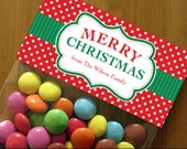 Personalized Christmas Treat Bag Toppers – DIY Printable – Festive Label Red & Green (Digital File)