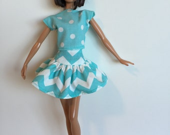 Handmade Barbie Clothes Aqua Chevron Dot Designs by P D Reneau (G201)