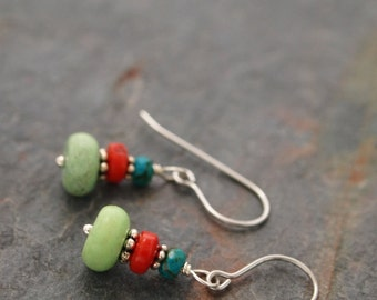 Turquoise, Coral and Howlite Earrings