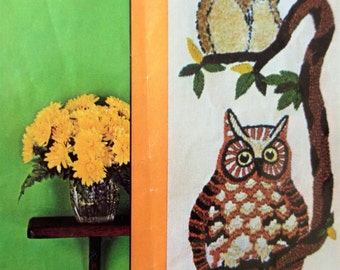 Vintage Crewel Kit, Tree Owls, Owls Wall Hanging, Avon Needlecraft Kit, Stitchery Kit, 1970s Crafting, Crewel Embroidery Kit, Owl Embroidery