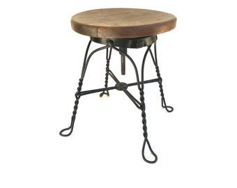Antique Industrial Ice Cream Stool~ Twisted Iron & wood~ Metal plant stand~ Chair Ottoman ~Rustic Man Cave decor~ for him