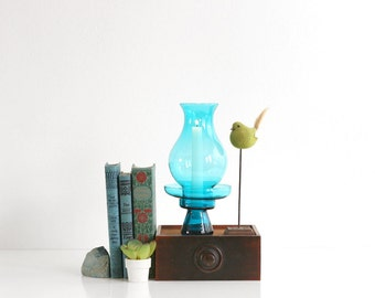 Mid Century Modern Morgantown Glass Hurricane Lamp / Retro Peacock Blue Glass Candle Holder / Mid Century Modern Candle Holder