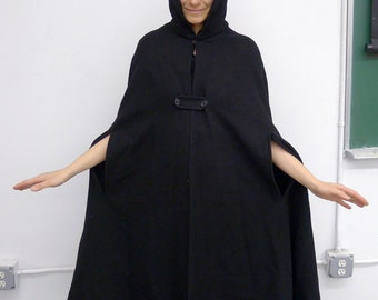Long Black Wool Vintage French Police Cape with Hood