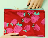 Strawberry screen printed zipper pencil pouch