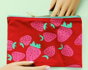Strawberry screen printed zipper pencil pouch - made in Nashville