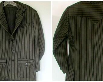 Vintage Pinstripe Jacket 1940s to 1950s Western Yoke grey on Black Suit Jacket Size 6 to 8