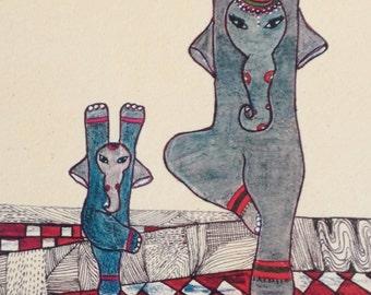 Yoga Art, Yoga, Elephant Art, Elephant Yoga, Tree Pose