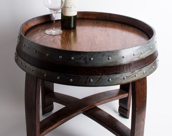 Red Mahogany Stained Wine Barrel End Table with Cross Braces