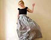 Tartan Maxi Skirt, Black White Plaid High Waist Silk Taffeta Long Evening Party Skirt Pleats Pockets, Prom Skirt, Bridesmaids,d Plus sizes
