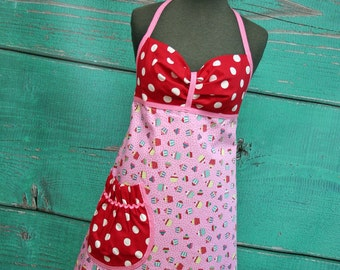Women's Apron - Cupcake Women's Apron - Mini Red and Pink Cupcakes