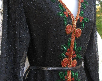 medium HOLLY LEAVES and BERRIES black sequin blouse jacket, cocktail party formal black tie affair, 1980s 80s beaded jacket, sequined jacket
