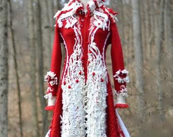 Long red white boho sweater COAT, OOAK Winter wonderland fantasy fairy tale clothing, Size Medium/ Large. Ready to ship