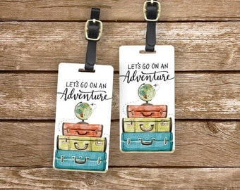 Luggage Tag Set Lets go on an Adventure Watercolor Suitcase Globe Metal Luggage Tag Set With  Printed Custom Info On Back
