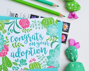 Congrats on your adoption, Welcome to the family, Baby Shower, Baby gift, Illustration, Succulent, Cactus, Greeting Card, Handlettered