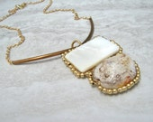 Reserved for Fernie Stone Pendant Necklace- Structured Modern Necklace with Copper Bar,Ivory White  Shell & Gold