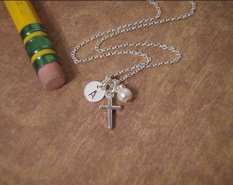 Tiny cross necklace - Tiny Initial jewelry - Baptism gift - Cross and pearl - Sterling silver necklace - Photo NOT actual size