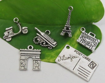 6 I LOVE PARIS Theme Charm Set - Each One Different -Antique Silver -French Vacation Collection- Eiffel Tower Scooter Wine, Arc de Triomphe