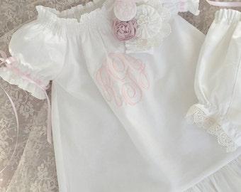 Baby Dedication Dress Baptism Special Occasion Boutique Ivory or White Monogrammed Dress Gown and Headband