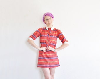 red striped scooter shirtdress . preppy 1960 mod shift .small .sale