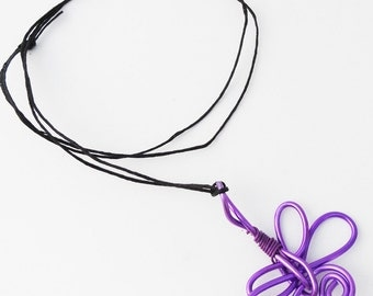 Simple Graceful Dragonfly Necklace, Purple Aluminum Wire Wrapped Dragonfly, Large Statement Necklace DF3