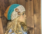 Crochet Ribbed Brim Slouchy Slouch Crochet Beanie Hipster Hat Coconut  Button - PACIFIC - ADVENTURE