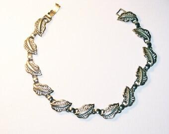 Vintage Bergere Silver Tone Rhodium Leaf Necklace (N-2-1)