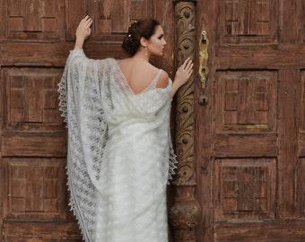 Wedding Lace Shawl, Wedding Wrap, Ivory Laces Wedding Shawl, Mohair with Silk Wrap, Brides Laces Shawl, Art Deco Wedding Shawl, Handknitted
