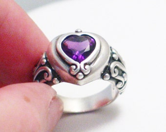 sterling silver size 9 purple heart amethyst gemstone solitaire ring band scroll work shoulders womens fine jewelry on google
