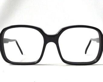 vintage 1950s black horn rim eyeglasses square plastic frames men women eye glasses oversize mid century modern retro eyewear nerdy geek old