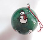 Carved Golf Ball, Christmas Ornament, Unique Golf Gift for Men or Women Golfer, Snowman Christmas Ornament, Golf Ornament