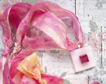 Rose Quartz Stained Glass Pendant with Silk Ribbon - Romantic Rose
