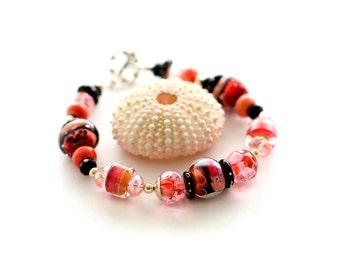 Boho Glass Bead Bracelet. Southwest Colors. Red Coral Lampwork Bracelet. Glass Bead Jewelry.