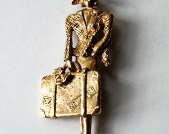 Gold Tone Art Deco Brooch Lady with poodle and suitcase