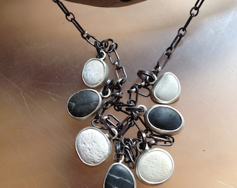 Black and White BeachStone Necklace, Sterling Silver and 7 beach stones OOAK