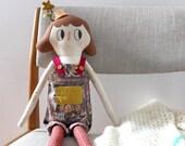 Heirloom Cloth Rag Doll Girl OOAK Soft Sculpture Art Doll