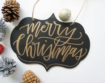 Merry Christmas Gold Calligraphy Chalkboard Christmas Holiday Sign