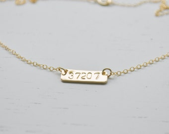 Gold Bar Zip Code Necklace - gold filled bar hand stamped wear your favorite place handmade gift nashville tennessee choose your zip code