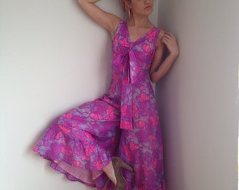 vintage 70s jumpsuit palazzo pants pink floral psychedelic boho size xs