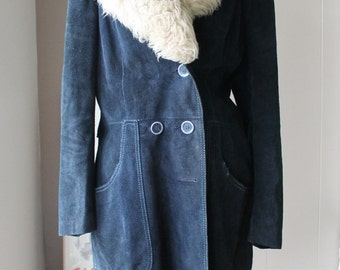 70s Blue Suede Coat three quarters coat with pile collar and stitching detail size medium to large