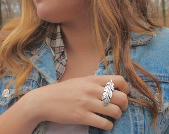 Feather Ring , Leather Band , Leather Ring , Big Ring , Hipster Ring , Modern Ring , Silver Ring , Hip Jewelry , Amy Fine Design