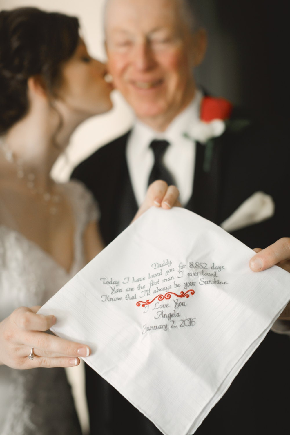 Wedding Gift for Dad Embroidered Wedding Handkerchief Father