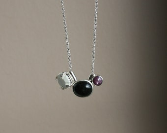 Long minimalist necklace - sterling silver, natural ruby, black Honduran opal and white agate - OOAK, ready to ship