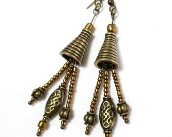 Long Boho Earrings - Bronze Dangle Earrings - Bronze Czech Glass Beads - Celtic Knot Jewelry - Bohemian Jewelry - Long Dangle Earrings