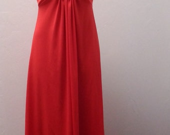 1960s to 1970s Long Gown, Sleeveless, Polyester, Hostess Gown, RED, Size, #55655