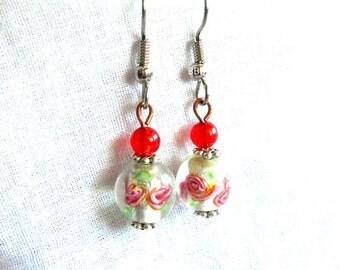 Rose Earrings Shabby Earrings Chic Earrings Pink Earrings Flower Earrings Beaded Earrings Surgical Steel Earrings French Hooks Lampwork