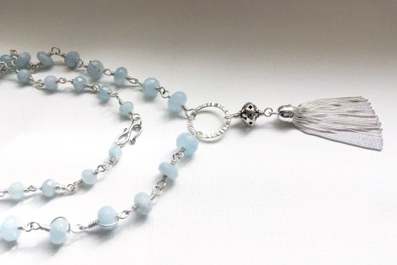 Aquamarine Italian Silver Tassel Necklace Rosary Style Handmade
