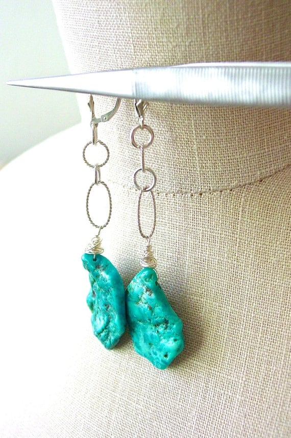 Nacozari Turquoise Dangle Earrings Sterling Silver Statement Jewelry