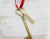 Housewarming Heart Key Ornament - Your new home address or date Personalized Key Chain or Ornament in Antique Brass My First Home Memento